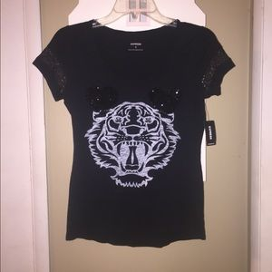 Express Lion Sequin Hearts Lace Sleeve Tee XS NWT